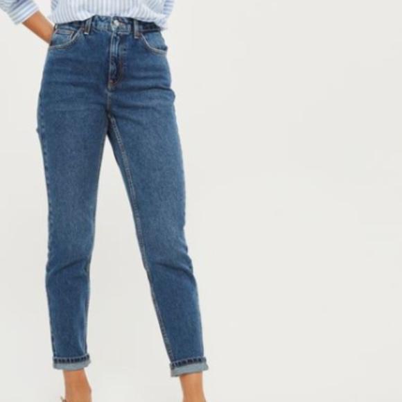 7ecad97517 Topshop Jeans   Moto Dark Blue Mom   Poshmark